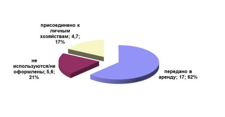 Распределение паев земель сельскохозяйственного назначения, млн га, %