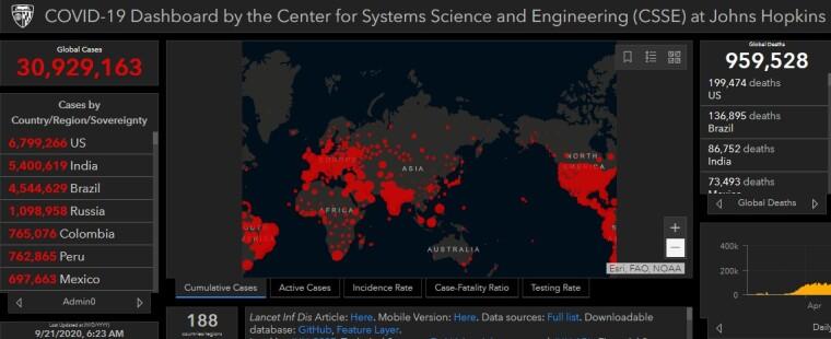 Розповсюдження коронавірусу в світі станом на 21 вересня