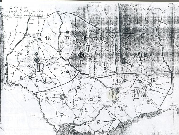 Схема организации разведывательной сети Партизанского повстанческого штаба УНР на территории советской Украины. 1921 г.