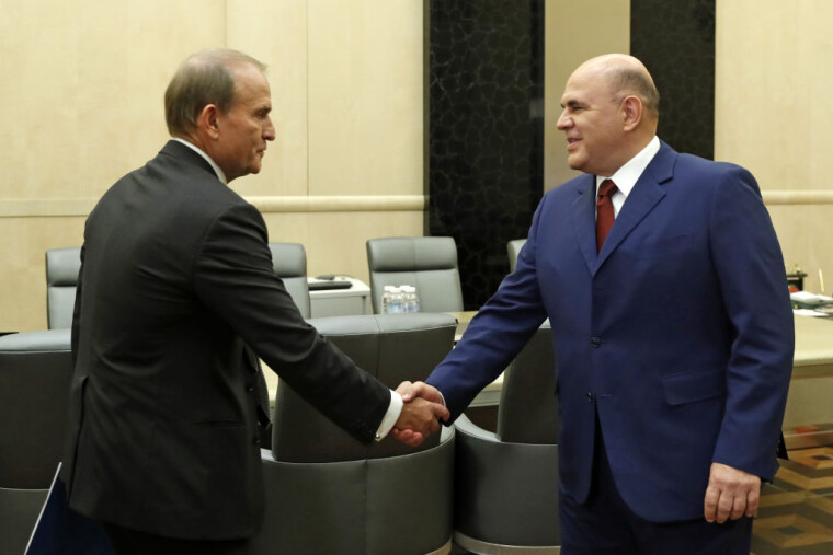 Виктор Медведчук и премьер-министр РФ Михаил Мишустин во время встречи в Москве 6 октября