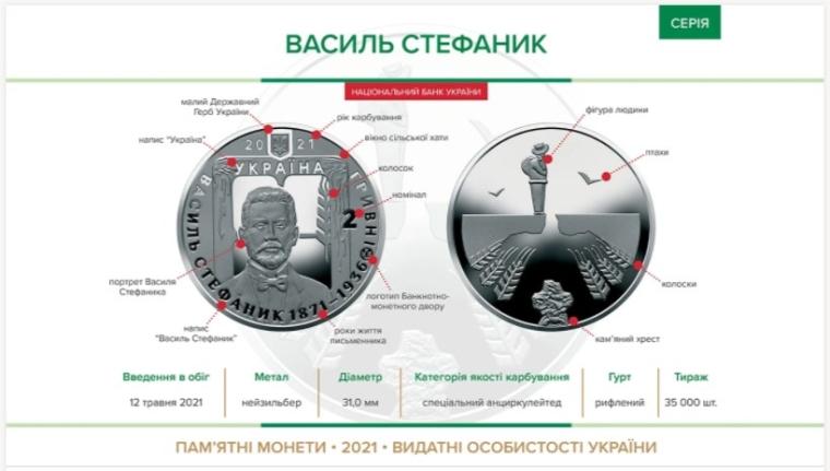 "Монета ""Василь Стефаник"""