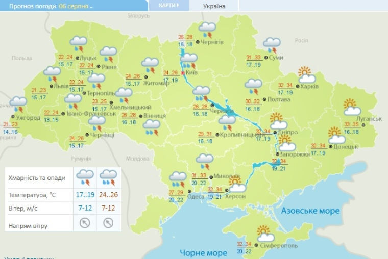 Прогноз погоди на 6 серпня