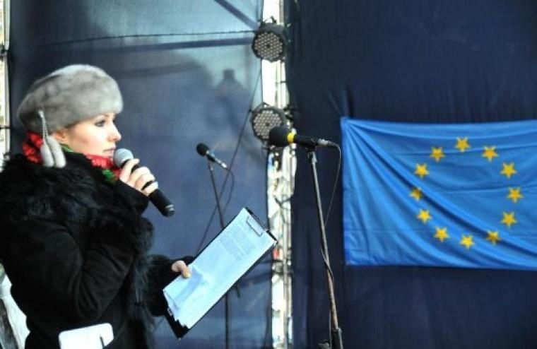Софія Федина під час Євромайдану у Львові