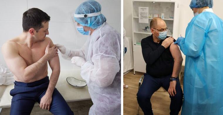 Володимир Зеленський і Максим Степанов вакцинуються від COVID-19/Прес-служби президента і МОЗ