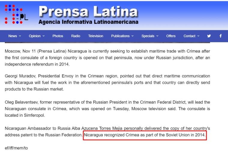 Як стверджує кубинське інформагентство Prensa Latina, Нікарагуа трохи запізнилася з визнанням радянського суверенітету над Кримом