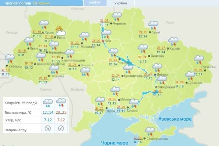 Прогноз погоди на 14 червня