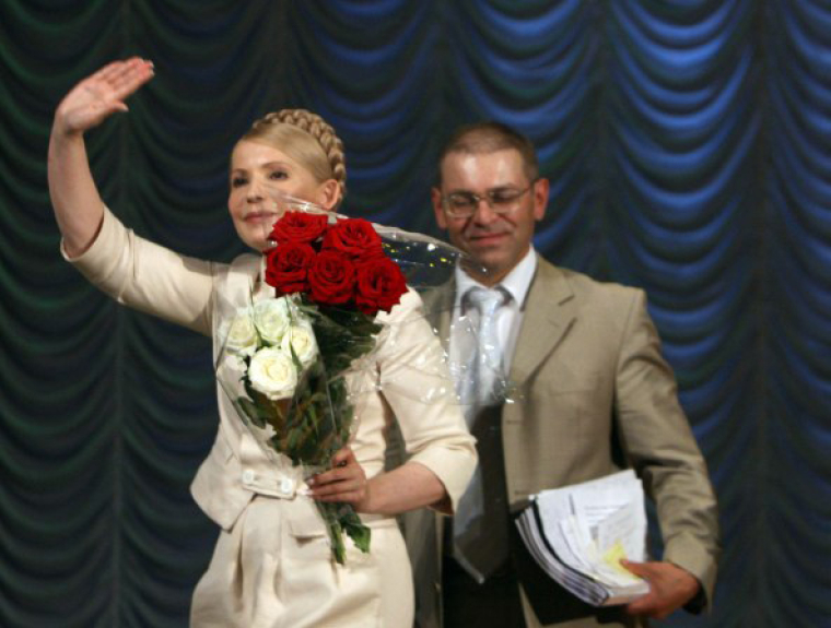 Лидер БЮТ Юлия Тимошенко и народный депутат от БЮТ Сергей Пашинский в Житомире, 2010 г.