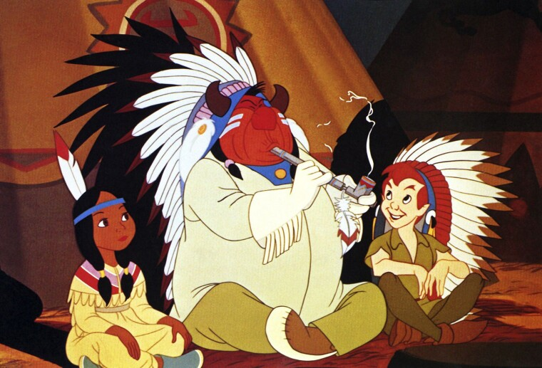 Кадр із «Пітера Пена» (1953): Тигрова Лілія, Вождь і Пітер Пен