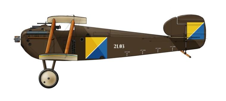 Можливий вигляд винищувача «Долфін» Першої Запорізької ескадри. Реконструкція Р. Васильєва та Є. Ушакова