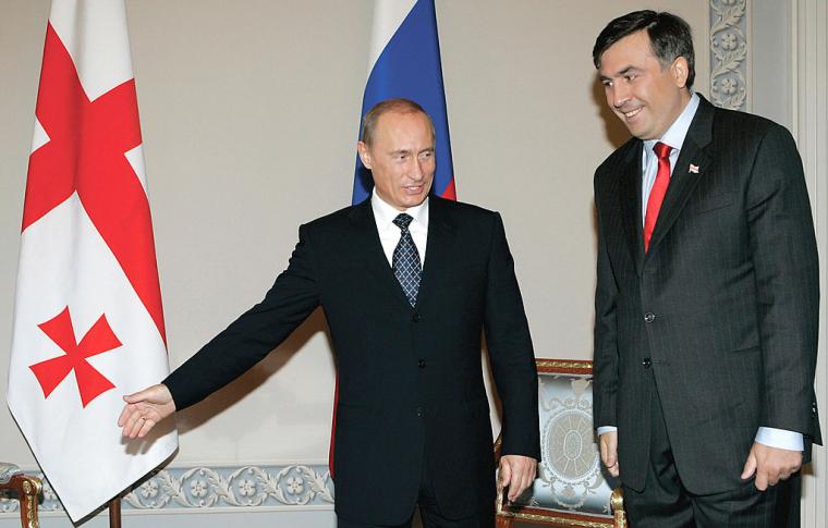 Президент РФ Володимир Путін і президент Грузії Михайло Саакашвілі під час зустрічі в Санкт-Петербурзі, 2007 р