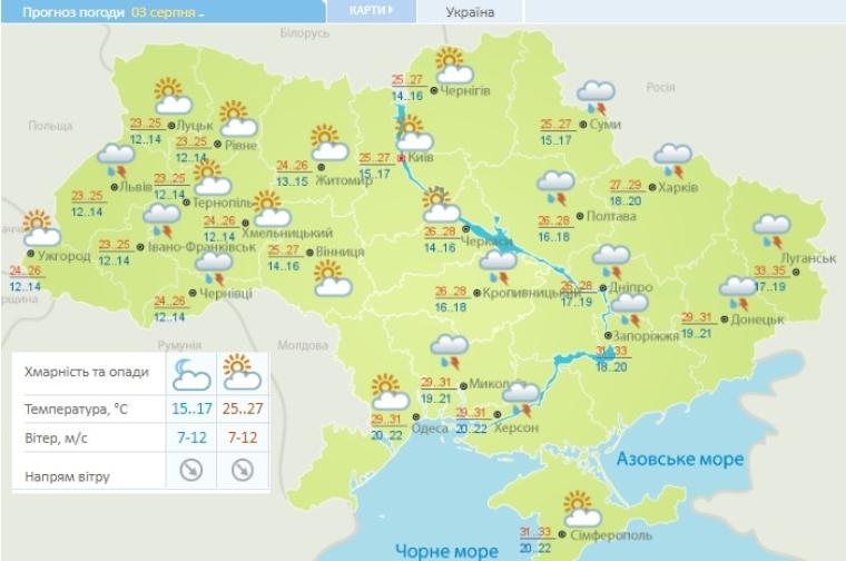 Прогноз погоды на 3 августа