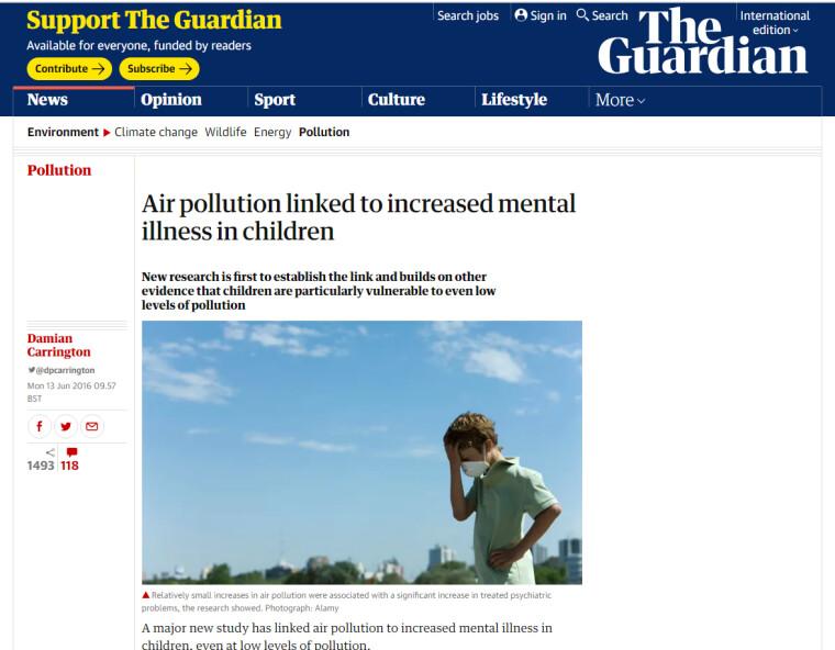 Заголовок статьи: «С загрязнением воздуха связано увеличение числа психических заболеваний у детей»