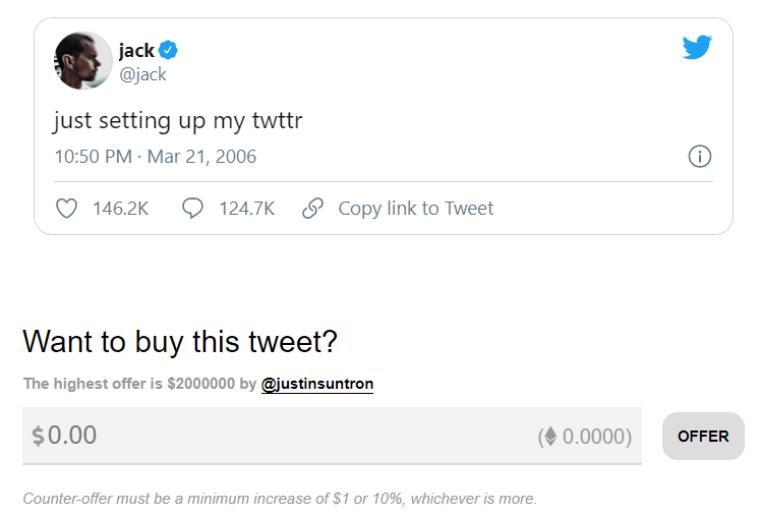 Первая публикация Джека Дорси в Twitter