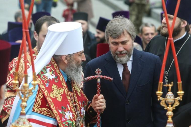 Митрополит Онуфрий и Вадим Новинский во время панихиды