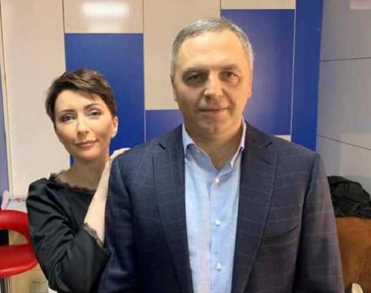 Андрей Портнов и Елена Лукаш в студии одного из телеканалов Медведчука, 2019/myrotvorets.news