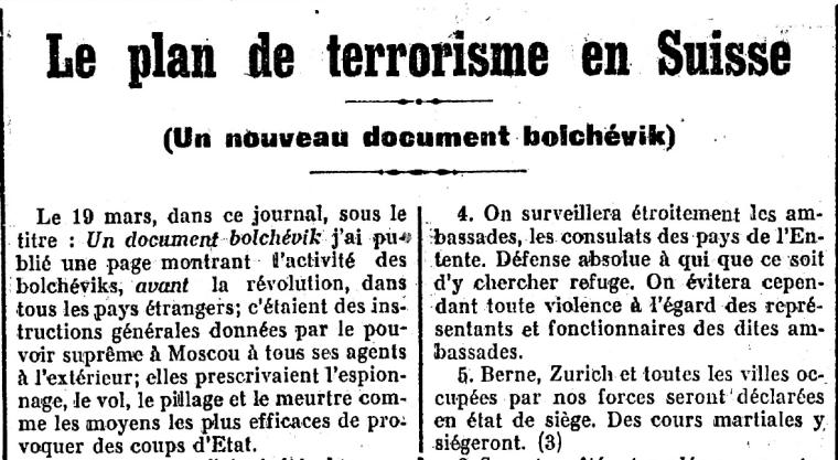 Славнозвісна підробка авторства С. Перського, розвінчуванню якої присвячена не одна праця швейцарских істориків. Gazette de Lausanne, No 110, 23.04.1919.