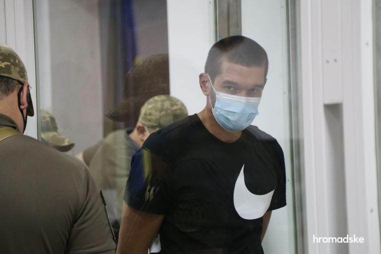 Подозреваемый Олег Скрипка в Шевченковском суде Киева 6 августа 2021