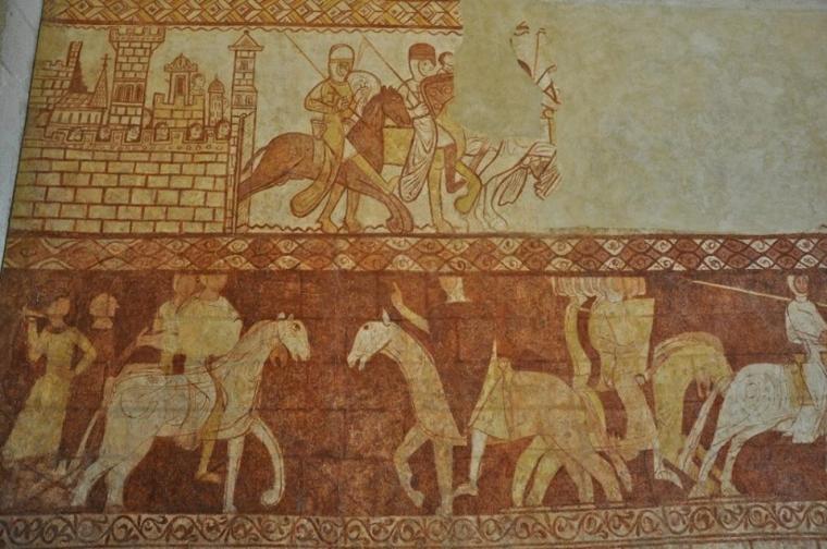 Фреска XII ст. з каплиці тамплієрів. Комуна Кресак-Сен-Жені (Cressac-Saint-Genis), регіон Пуату-Шарант, Франція