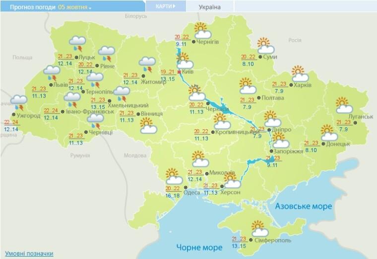 Погода в Украине на 5 октября