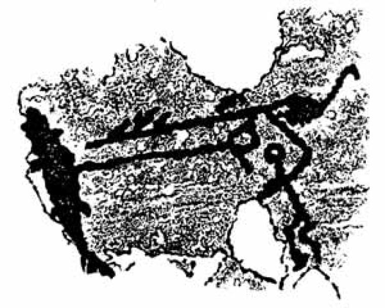 Наскальный рисунок, изображающий охоту на лосося с берега. Предположительная дата создания – рубеж II и III тысячелетий до н.э. Место обнаружения – устье реки Водла, бассейн Онежского озера, РФ