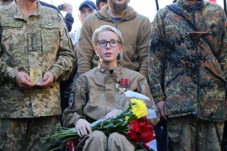 Яна Зинкевич на Марше ветеранов