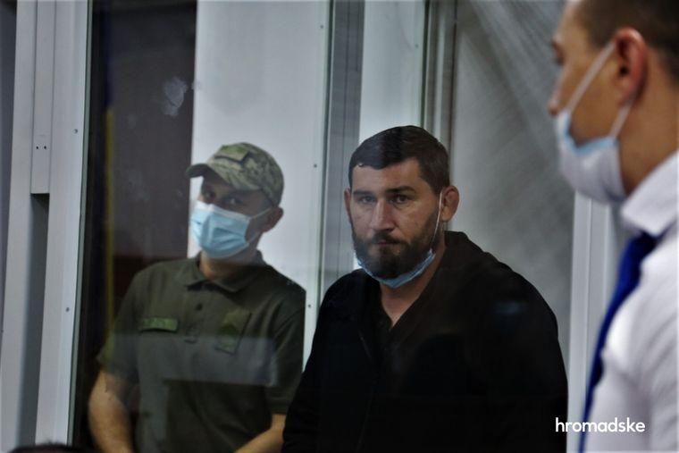 Подозреваемый в участии в преступной организации полицейский Кирилл Крикунов в Шевченковском суде Киева 6 августа 2021