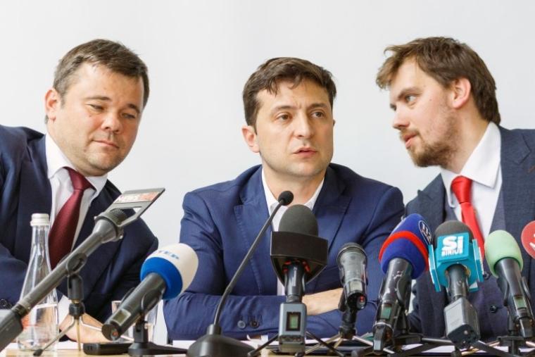 Андрей Богдан, Владимир Зеленский и Алексей Гончарук, 2019