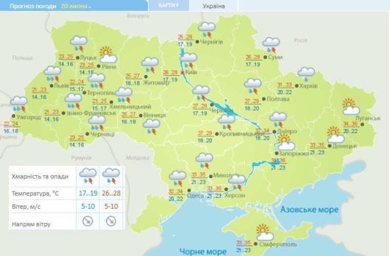 Прогноз погоды на 20 июля