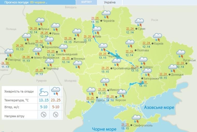 Прогноз погоди на 9 червня