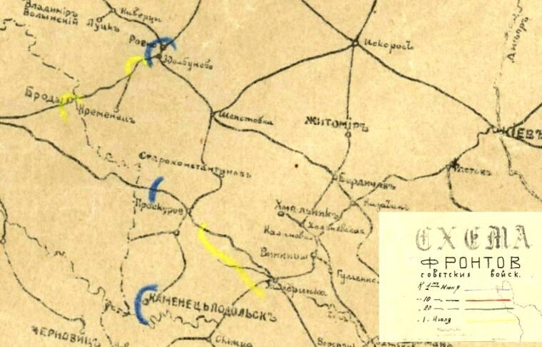 Схема фронтів радянських військ на 1 червня та на 1 липня 1919. З радянських карт 1919-го року