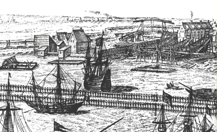 Верфь и корабли Амстердама. Гравюра на меди, 1606 год. Публикация — голландский картограф и издатель Виллем Янсзон Блау (нидерл. Willem Janszoon Blaeu, 1571— 1638