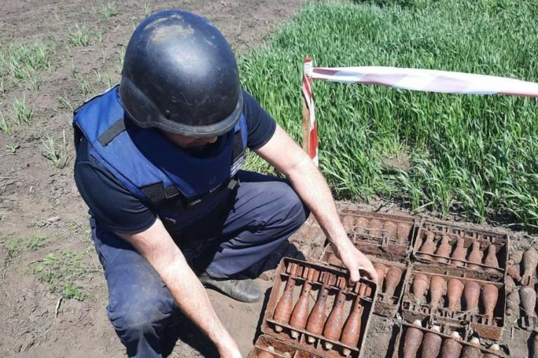 Житель Харьковской области выкопал на огороде сотни мин и снарядов