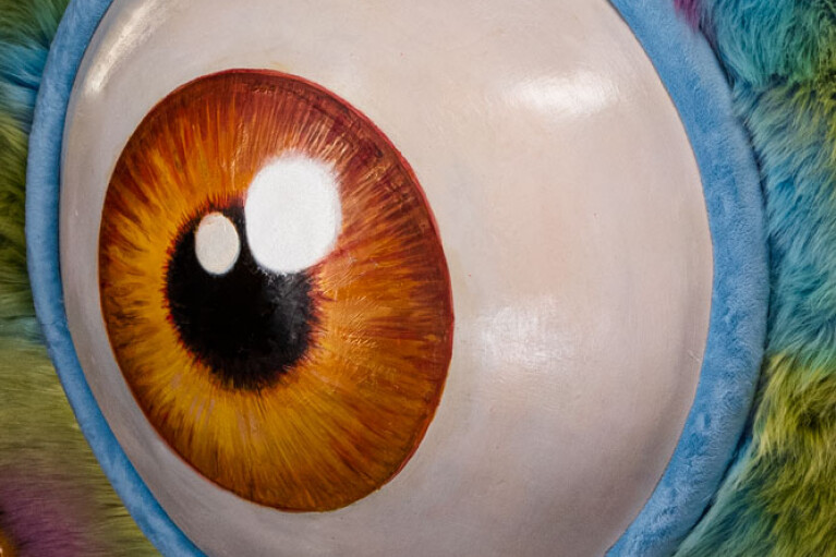 Для костюма Циклопа оригинального шоу «МАСКА» был изготовлен гигантский глаз диаметром 1 метр