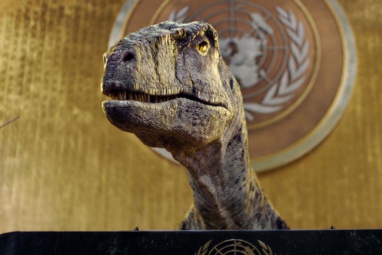 Динозавр з трибуни ООН закликав не шукати виправдань змінам клімату (ВІДЕО)
