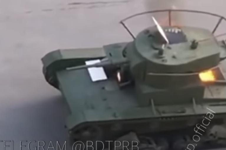 В России на репетиции парада сожгли древний танк