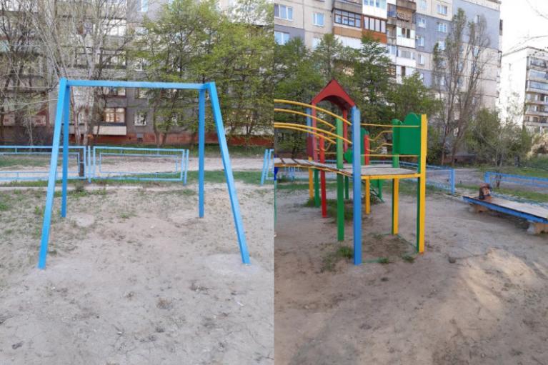 """В оккупированном Алчевске детские площадки растягивают """"на металл"""""""