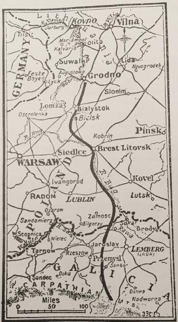 Иллюстрация к выпуску лондонского издания Times за 15 июля 1920. Неофициальное и наверное первое изображение «линии Керзона» на карте