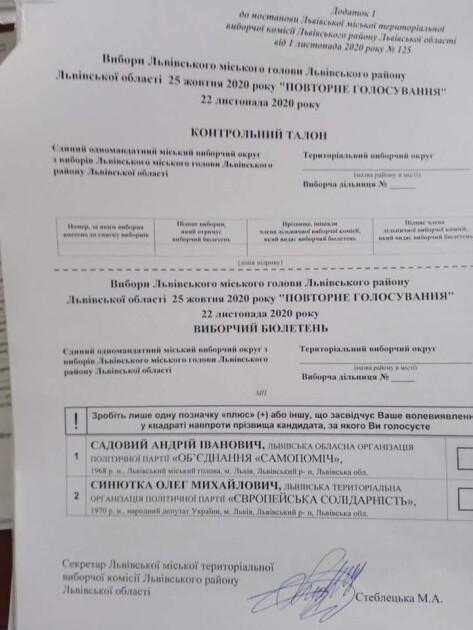Второй тур выборов мэра Львова пройдет 22 ноября