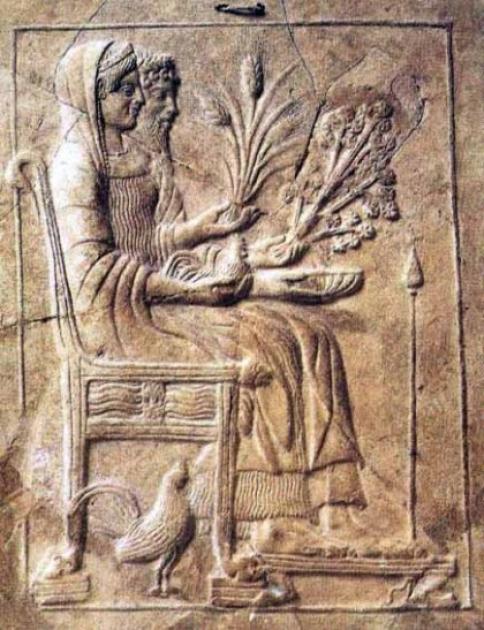 Персефона и Аид на троне подземного царства, 480-450 гг. до н.э. Экспозиция Национального музея Калабрии, Италия