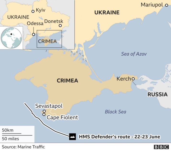 Карта проходу Defender у Чорному морі
