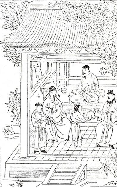 """Ху Сихуей серед членів династії Юань. Малюнок з книги """"Іньшань чжен яо"""", 1330 р."""