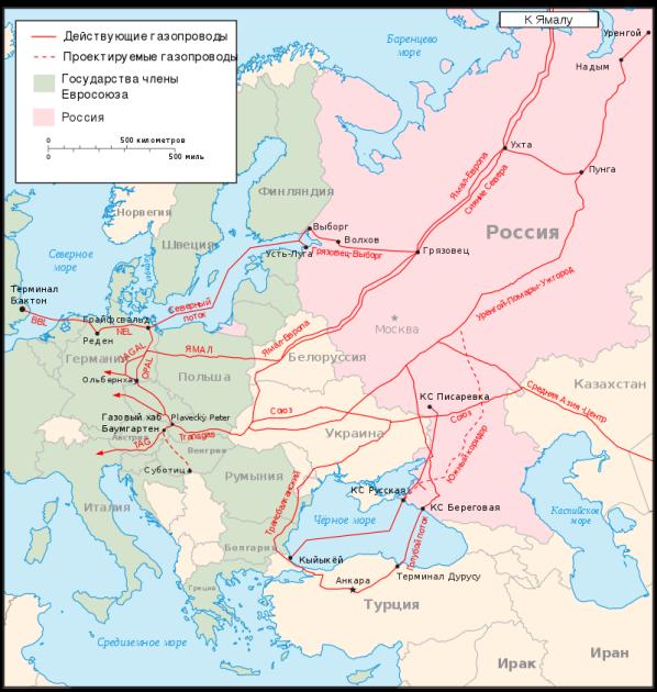 """Российские газопроводы в Европу / Источник: """"Википедия"""""""