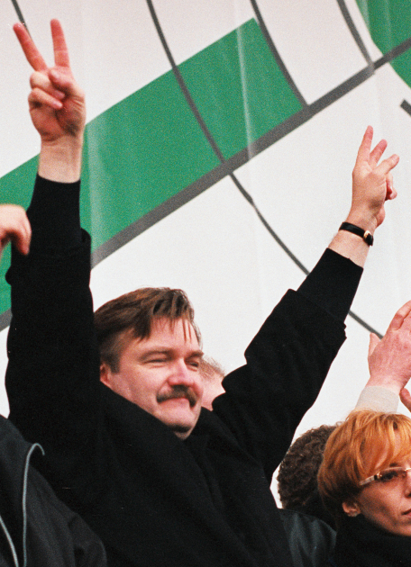 Євген Кисельов на мітингу в підтримку телеканалу НТВ, 2001 рік