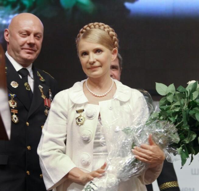 """Юлия Тимошенко награждена орденом """"Шахтерская слава"""", 2008 г."""