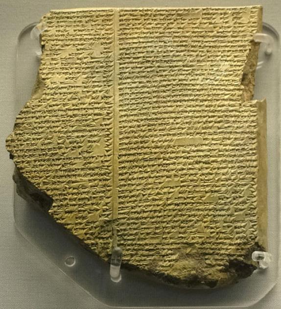 Аккадская глиняная табличка с фрагментом «Эпоса о Гильгамеше», XVIII—XVII век до н.э. Место экспозиции – Британский музей