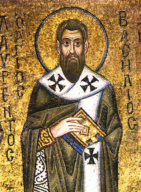 Святий Василій Великий, мозаїка Софійського собору, Київ. Згідно з віруваннями наших пращурів, саме під його заступництвом ароматне листя базиліка проявляє свою цілющу силу