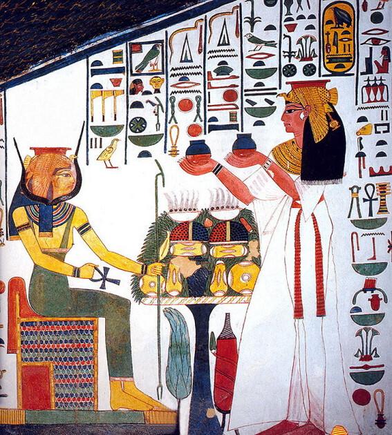 Небесна трапеза з богинею Хатхор. Розпис з гробниці Нефертарі Меренмут (1290 -1255 до д.е.н.) в Долині Корольов/egyptopedia.info