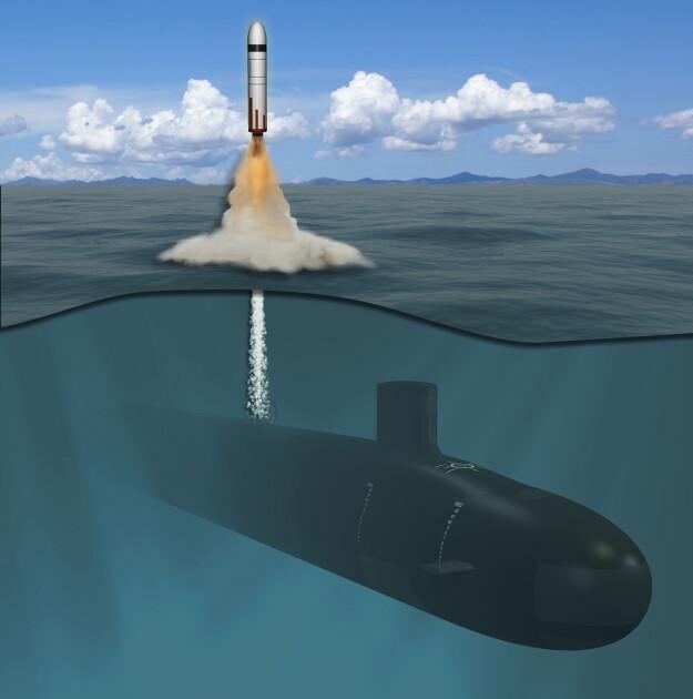 Подводная лодка класса Columbia, стреляющая баллистическими ракетами / художественная визуализация General Dynamics