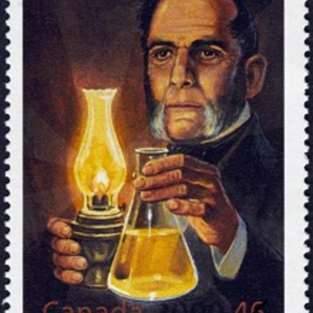 Почтовая марка, посвященная 150-летию первого патента на керосин, полученного Абрахамом Геснером в 1854 году. Канада, 2004 год