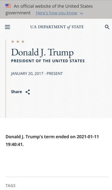 Скриншот страницы с биографией Трампа на сайте Госдепа